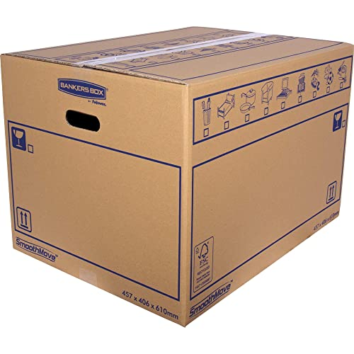 BANKERS BOX SmoothMove Heavy Duty Double Wall Cardboard Moving and Storage Boxes with Handles, 113 Litre, 40.5 x 45.5 x 61 cm, 10 Pack