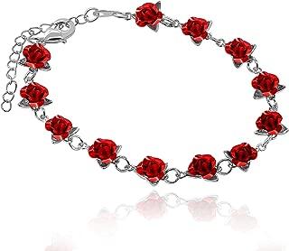 dozen roses bracelet silver