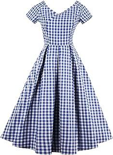 Women's Vintage V Neck Gingham Plaid A Line Swing Party Dress