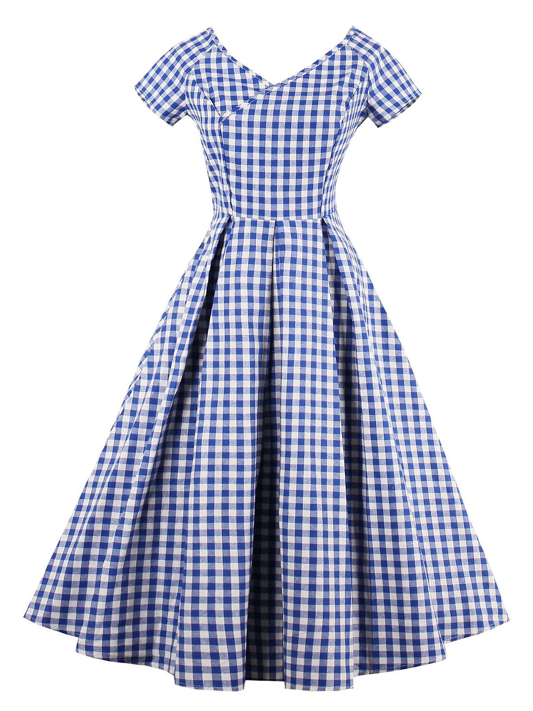 Available at Amazon: VINFA Women's Vintage V Neck Gingham Plaid A Line Swing Party Dress