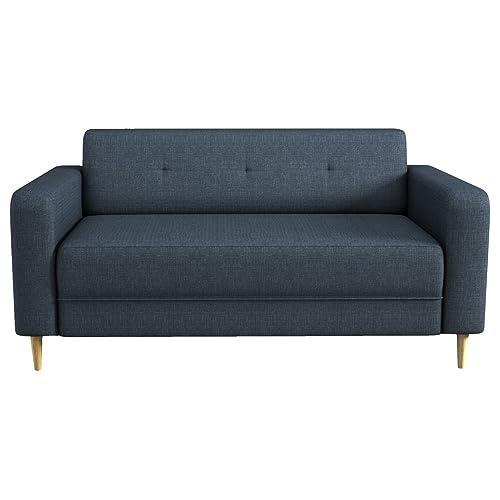 Beds&Sofa Canapé scandinave MAYOTTE Fixe 3 Places, Pieds bois, Tissu, Bleu, 167 x 28 x 81 cm