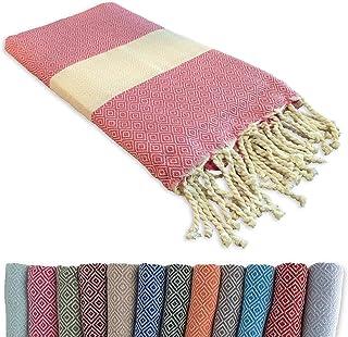 Fouta Serviette de Plage Coton 100 x 200 cm - Qualité Luxe Original - Tissu de Hammam Sauna Oriental, Pique-Nique Tapis, C...
