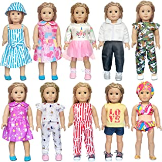 ARTST 18 Inch Doll Clothes Accessories, 10 Set of American Girl Doll Clothes for 18 Inch American Girl Dolls, My Life Dolls, Our Generation Dolls
