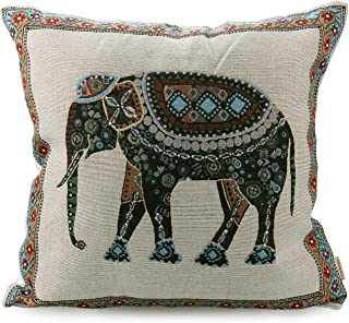 Luxbon Tapestry Jacquard Retro Indian Elephant Cotton Linen Throw Pillow Case Home Decor Sofa Couch Chair Cushion Cover Animal Decorative 18