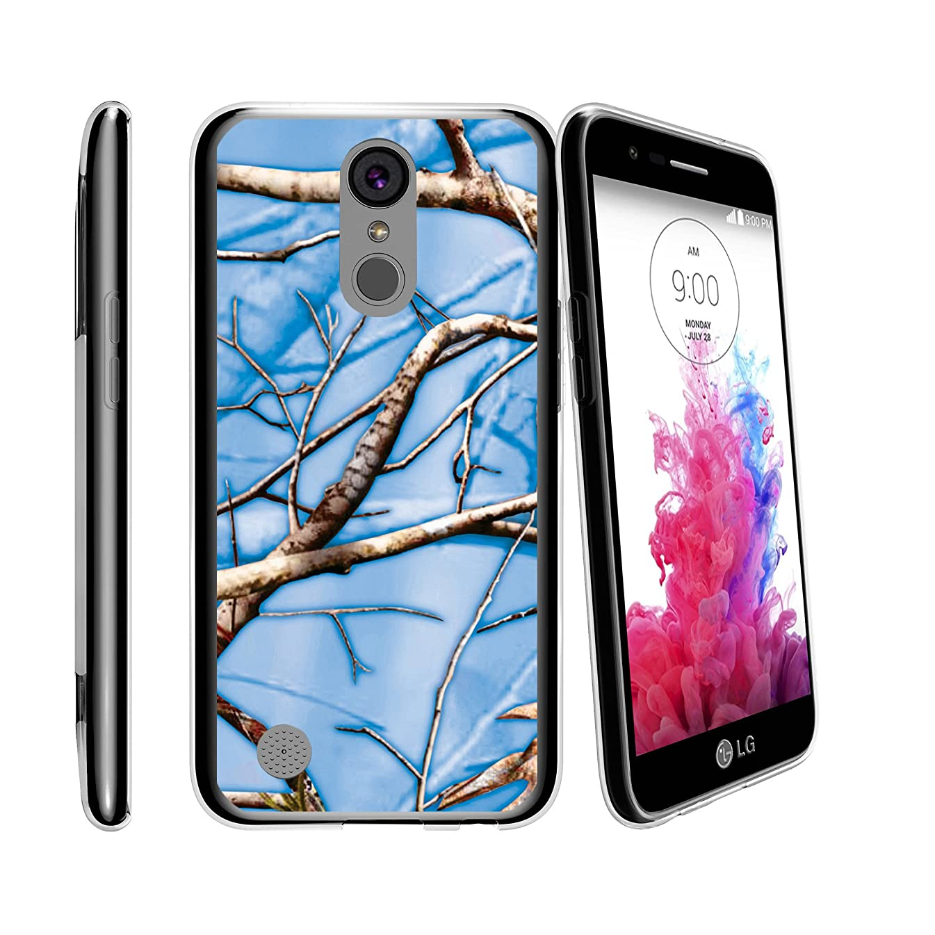 Silicone Case by MINITURTLE Compatible with LG K20   LG K20V   LG K20 Plus   LG Grace   LG Harmony (LV5) Flexible TPU Case w/Raised Silicone Edges - Blue Branch Camo