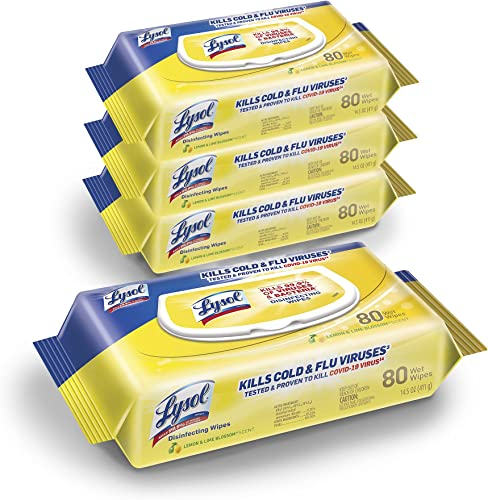 Lysol Disinfectant Handi-Pack Wipes Multi-Surface Antibacterial Cleaning Wipes For Disinfecting and Cleaning Lemon and Lime Blossom 320 Count (Pack of 4)