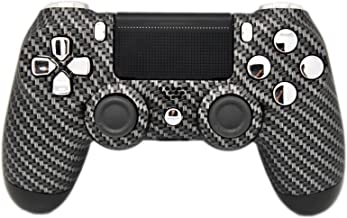 Carbon Fiber & Silver Chrome Modded PS4 Rapid Fire Controller, Works with All Games, COD, Rapid Fire, Dropshot, Akimbo & More