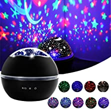 Star Night Light, Cre-Heaven Baby Night Light Star Moon Rotating Projector Bedside Lamp Color Changing Timer Setting for Baby Children's Bedroom (Black)