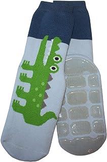 Calcetines antideslizantes para bebé y niños, diseño de cocodrilo, color azul claro