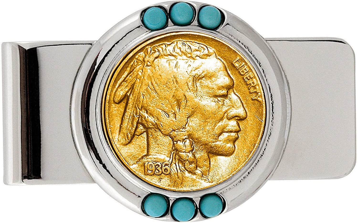 Gold-Layered Cheap mail order sales Buffalo Nickel Clip Money Turquoise cheap