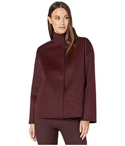Eileen Fisher Brushed Wool Doubleface Stand Collar Boxy Coat (Cassis) Women