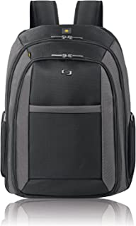 """Solo Metropolitan 16"""" Laptop Backpack with Removable Sleeve, Black/Grey"""