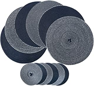 U'Artlines Placemats Indoor & Outdoor Round Cotton Table Mats with Coasters, Perfect for Fall, Dinner Parties, BBQs, Christmas Parties and Everyday Use (6pcs placemats+6pcs Coasters, A Dark Blue)