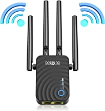 1200Mbps WiFi Repeater Wireless Signal Booster, 2.4 & 5GHz Dual Band WiFi Extender with Ethernet Port, 360 Degree Full Cov...