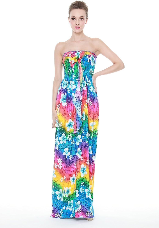 Aloha Fashion's Women's Maxi Hawaiian Tie Elastic Luau Dress Rainbow