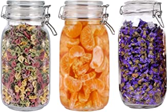 STAR WORK Set of 3 Airtight Glass Canister Set [1500 ml,]Food Storage Jar Storage Container with Seal Clamp for Dry Food Kitchen Canning Cereal,Pasta,Sugar,Beans,Spice