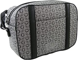 New Guess G Logo Purse Cross Body Shoulder Hand Bag Black Gray Salena