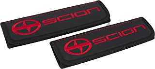 Car Interior Seat Belt Covers for Adults Black Shoulder Pads Seatbelt Cover pad with Embroidered red Emblem Accessories Compatible for Scion Great idea for a Gift to The Driver! 2 pcs