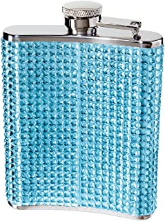 Oggi 9248.5 Glitter and Glitz Stainless Steel Hip Flask, Blue