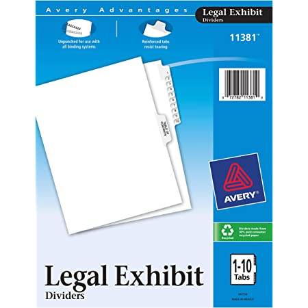 11959 Avery Style 8.5 x 11 Inches Avery Standard Collated Legal Exhibit Divider Set Blank 4 Packs Side Tab 1 Set