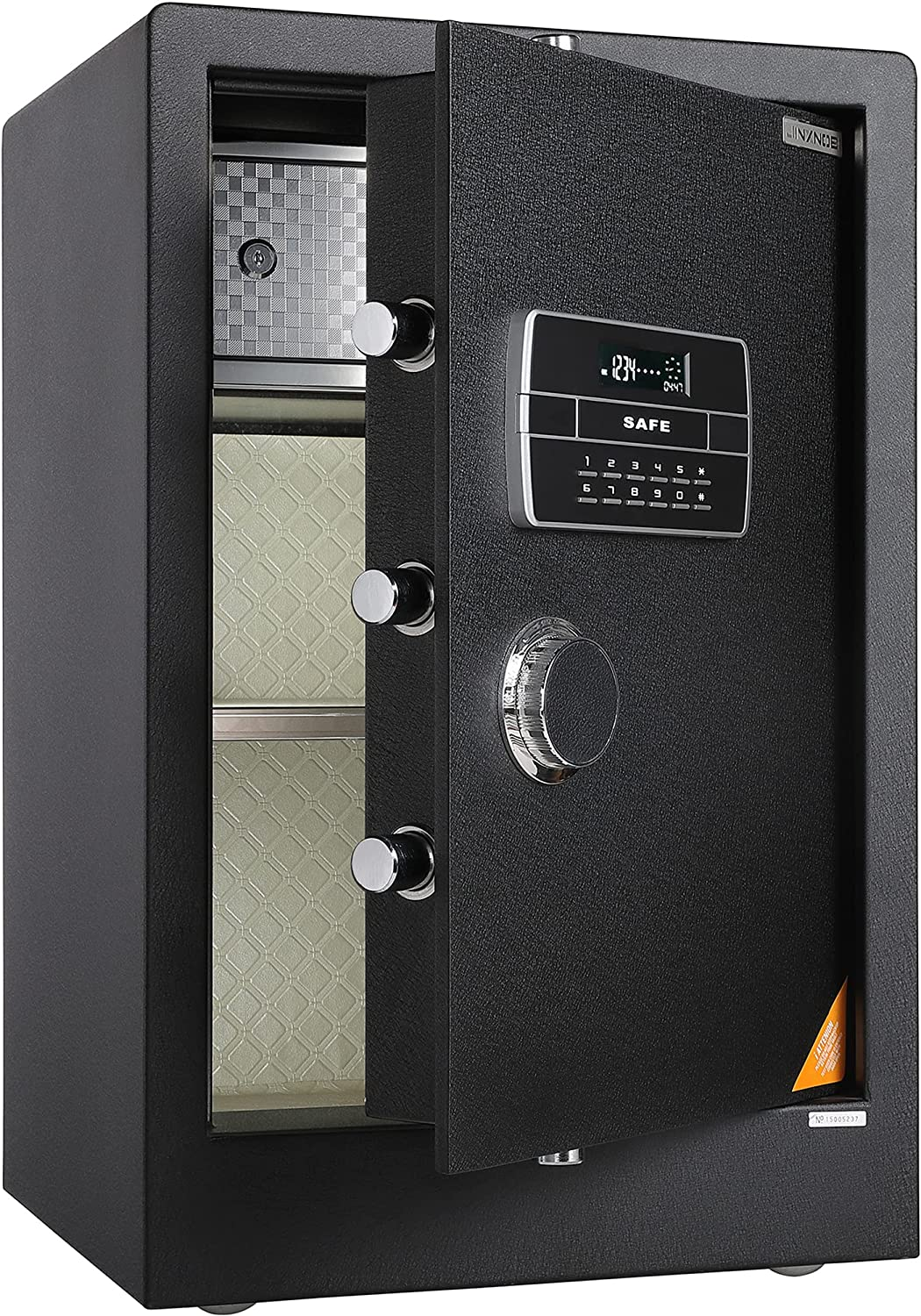 JINXNOBI Deluex Large Security Safes for Home, 2.84 Cubic Feet Digital Home Safe, Personal Password Safe Vault with Dial, Document Safety Box for Office, Hotel Safe for Jewelry, Guns, Documents