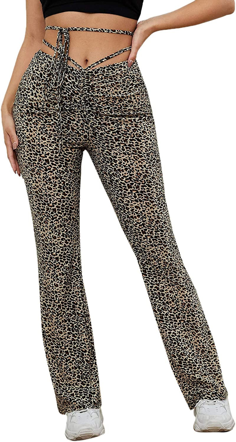 Verdusa Women's Mid Waist Cut Out Laddering Stretch Comfy Flare Leg Night Out Pants