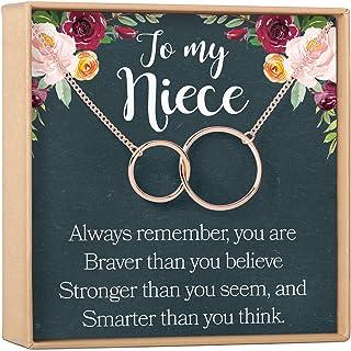 Dear Ava Niece ネックレス 叔母からの姪ギフト 姪のチャーム 姪のチャーム 姪の結婚ギフト 姪の確認 姪の誕生日 2つの連結サークル(ローズゴールドメッキ真鍮、NA)