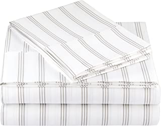 AmazonBasics Light-Weight Microfiber Sheet Set - Queen, Grey Stripe
