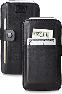 Vaultskin Windsor Leather Wallet for Apple iPhone SE & 5. Wallet Holds up to 8 Cards, Premium Genuine Leather (Black with Clasp)