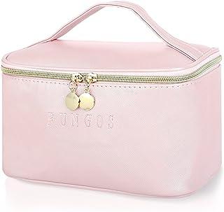 FUNGOS Makeup Bag Large Cosmetic Bag for Women, PU Leather Makeup Bag Organizer Travel Makeup Bags with Handle Waterproof ...