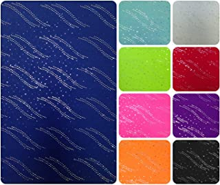 Holographic Trans Waves & All Over Pattern on Colorful Stretch Polyester Spandex Fabric By the Yard (Royal Blue/Silver)
