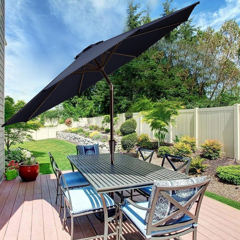 Bumblr 10ft Patio Umbrella Outdoor Market Table Umbrella with Push Button Tilt/Crank & 8 Sturdy Ribs Sun Umbrella for Garden Lawn Deck Backyard Pool, Navy