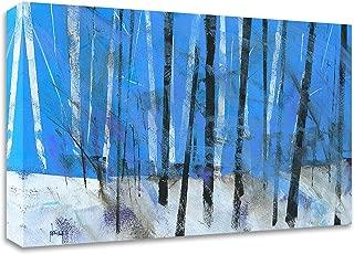 Tangletown Fine Art Birch and Black Ash Saplings Print on Canvas, 21 x14, White, Blue