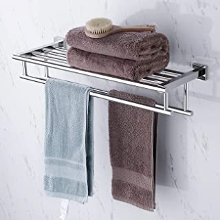 KES Towel Shelf with Double Towel Bar Rack Organizer for Bathroom 24-Inch Stainless Steel Wall Mount Polished Finish, A2112S60