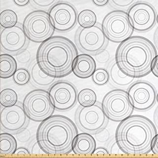 Lunarable Grey Fabric by The Yard, Ring Shapes Abstract Geometric Pattern Concentric Circles Contemporary Modern, Decorative Fabric for Upholstery and Home Accents, 2 Yards, Grey White