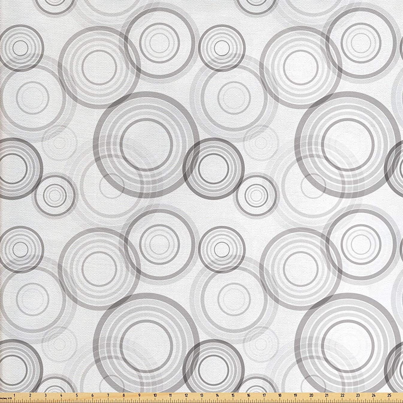 Lunarable Grey Fabric by The Yard, Ring Shapes Abstract Geometric Pattern Concentric Circles Contemporary Modern, Decorative Fabric for Upholstery and Home Accents, 2 Yards, Grey and White