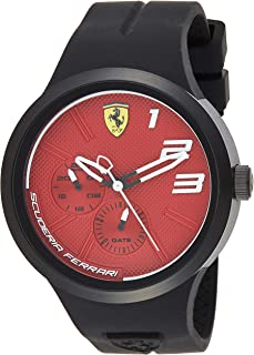 Ferrari Mens Quartz Watch, Analog Display and Silicone Strap 830473