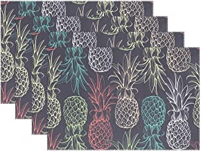WOZO Colorful Pineapple Placemat Table Mat, Fruit 12 x 18 Polyester Table Place Mat for Kitchen Dining Room Set of 4