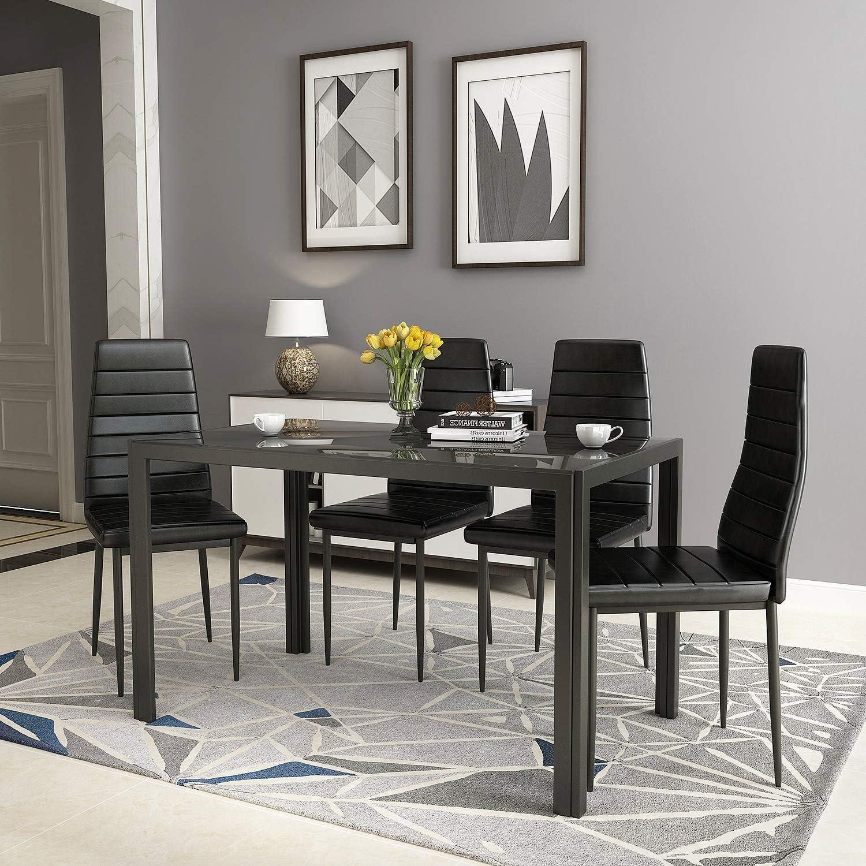 Omaha Mall Recaceik 5 Piece Luxury goods Dining Set Modern 4 Metal w Faux Kitchen Table