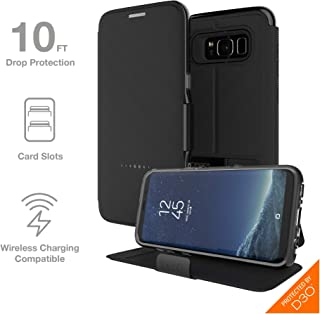 Gear4 Oxford Folio Case with Advanced Impact Protection by D3O, Compatible with Samsung Galaxy S8 – Black