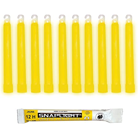 Cyalume SnapLight Jaune 15cm Bâton Lumineux Glow Stick Light Stick Fluorescent Durée 12 heures (Boîte de 10)