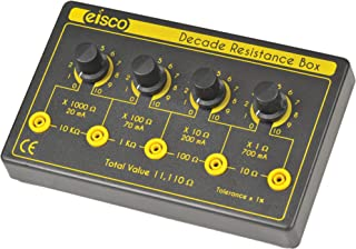 Eisco Labs 4 Decade Resistance Box, Variable from 0-11,110 Ohms, 0.5W Resistors (0.5555W Theoretical Max)