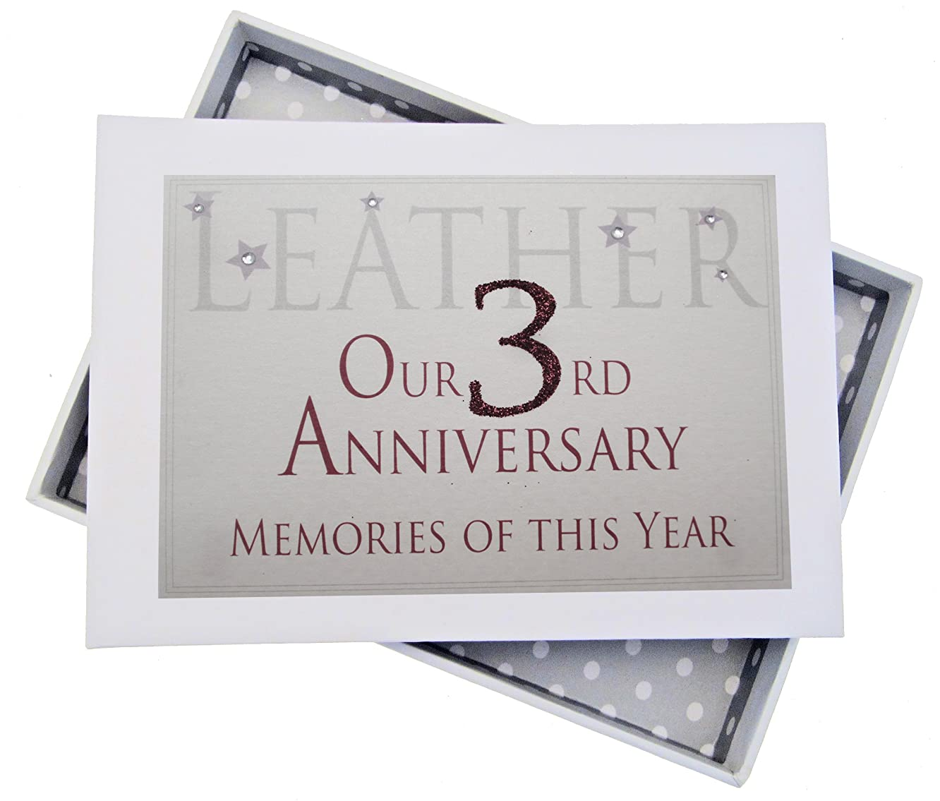 white cotton cards AW3T 3rd Leather Anniversary Memories of This Year Tiny Album Glitter and Words by WHITE COTTON CARDS