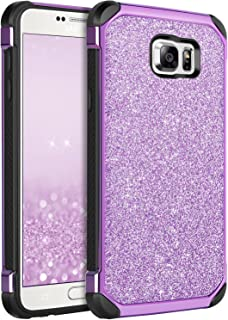 BENTOBEN Case for Galaxy Note 5 Case, Glitter Luxury Bling Hybrid Hard PC Laminated Sparkly Shiny Faux Leather Shockproof Bumper Protective Phone Case for Samsung Galaxy Note 5, Purple