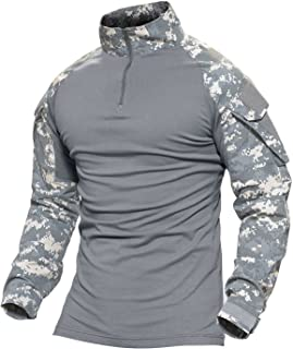 Tactical Military Shirts Long and Short Sleeve Slim Fit Camo Shirt with Zipper