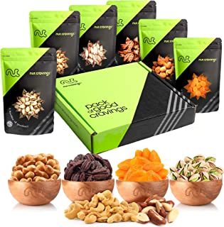 Gourmet Gift Basket Assortment, Nut & Dried Fruit Mix (6 Bags) - Edible Care Package Set, Birthday Party Food Arrangement Platter - Healthy Snack Box for Families, Women, Men, Adults - Prime Delivery