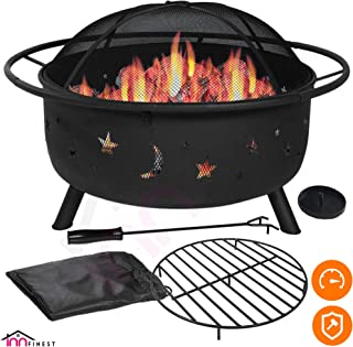 Outdoor Fire Pit Set - Large Bonfire Wood Burning Firepit Bowl - Spark Screen Cover, Fireplace Poker, BBQ Grill Metal Grate, Waterproof Rain Cover - for Outdoor Backyard Terrace Patio (31 Inch)