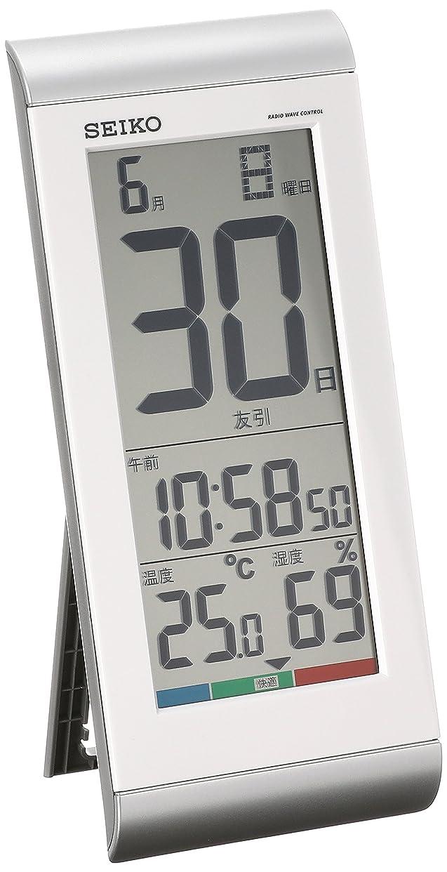 ぼろ会議作者セイコー クロック 掛け時計 置き時計 兼用 日めくりカレンダー 電波 デジタル 温度 湿度 表示 銀色 メタリック SQ431S SEIKO