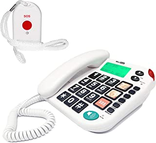 MAXCOM KXT481SOS (G TELWARE®) Haus Notruf Seniorentelefon mit Funk SOS Sender, schnurgebundenes Festnetz Telefon mit 1 Umhängesender, Große Tasten, TAE Stecker, Hörgerätekompatibel