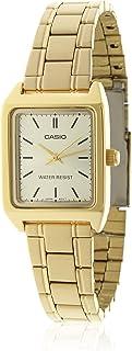 ساعة يد رسمية بسوار من الستانلس ستيل للنساء من كاسيو